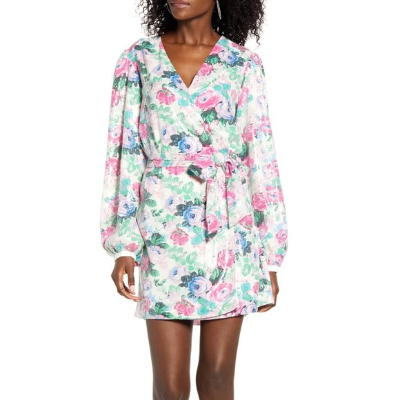 Wayf Dresses & Skirts - [WAYF] Loretta Floral SequinWrap Dress